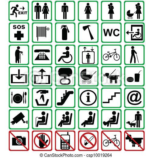 signes, international, utilisé, transport, moyens - csp10019264
