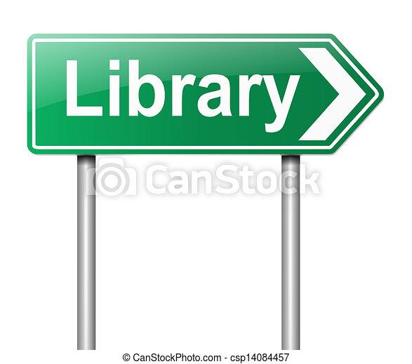 Señal de la biblioteca. - csp14084457