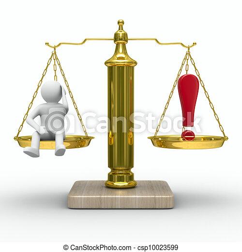 Hombre y signo de exclamación en escalas. Imagen 3D aislada - csp10023599