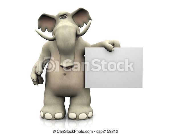 Elefante de cartón con una señal en blanco. - csp2159212