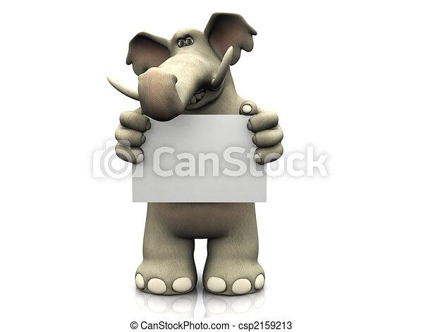 Elefante de cartón con una señal en blanco. - csp2159213