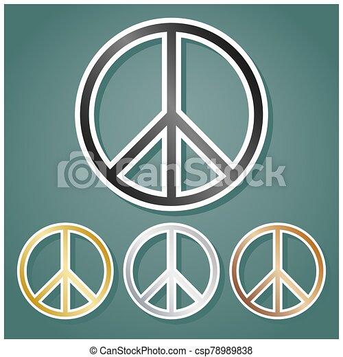 signo., gradiente, paz, conjunto, fondo., illustration., bronce, blanco, iconos, oro, gris, sombra, contorno, metálico, viridan, plata - csp78989838
