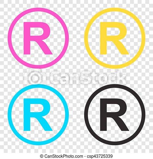 Señal registrada. iconos CMYK en el fondo transparente. - csp43725339