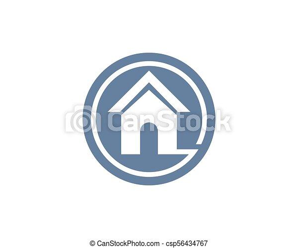 Propiedad y logotipo de construcción para el signo corporativo - csp56434767