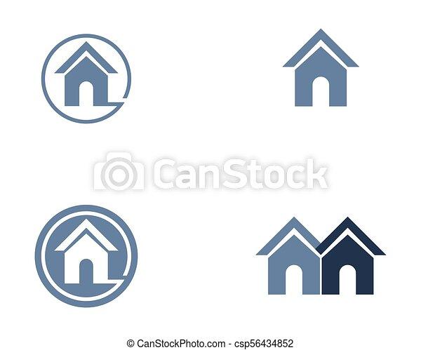 Propiedad y logotipo de construcción para el signo corporativo - csp56434852