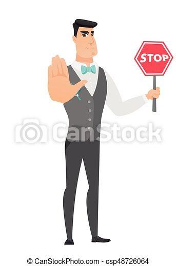 El novio caucásico tiene señal de stop road. - csp48726064