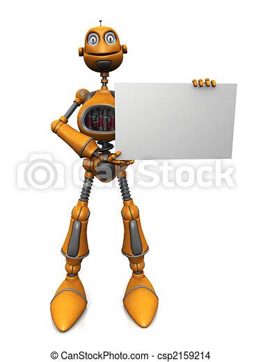 Robot de cartón con una señal en blanco. - csp2159214