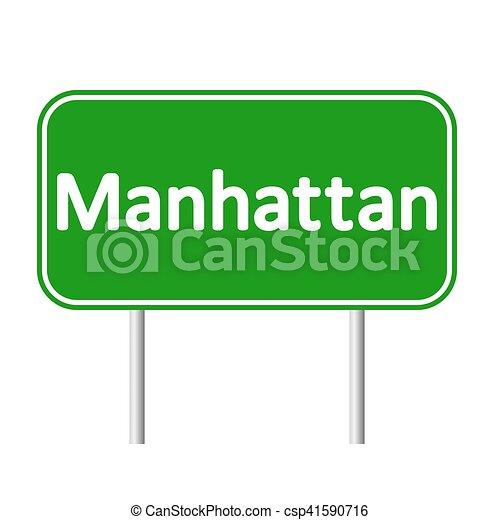 El letrero verde de Manhattan. - csp41590716