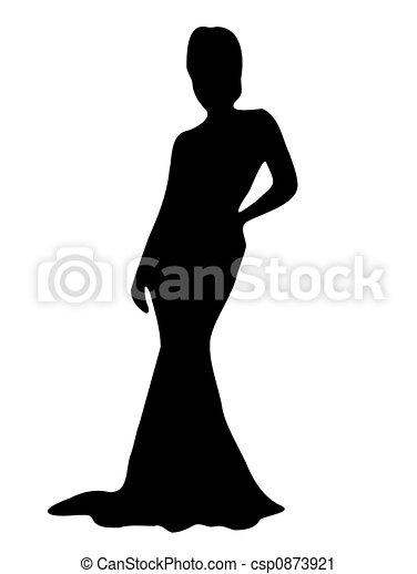 signora, elegante, silhouette - csp0873921