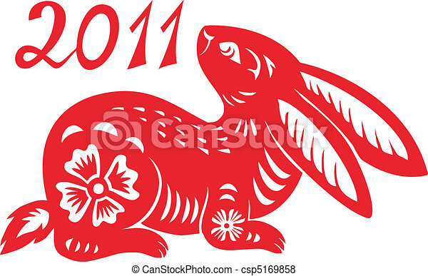 signos, year., coelho, chinês - csp5169858