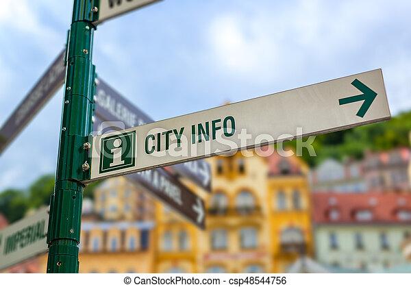 Signpost in city - csp48544756