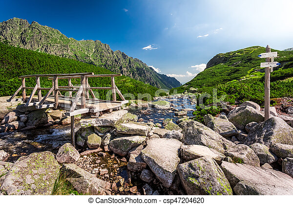 Signpost in Tatra Mountains in summer, Poland, Europe - csp47204620