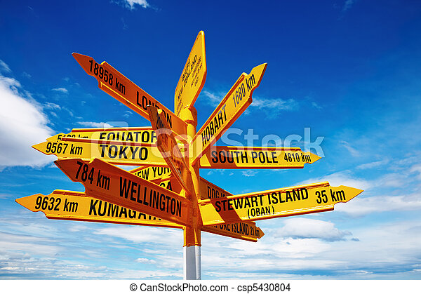 Signpost in the Stirling Point, Bluff, New Zealand - csp5430804