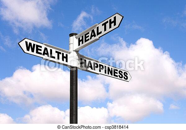 signpost, saúde, riqueza, felicidade - csp3818414