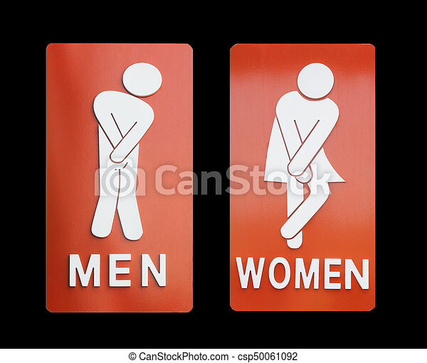 Signs Female And Male Bathroom On Black Background
