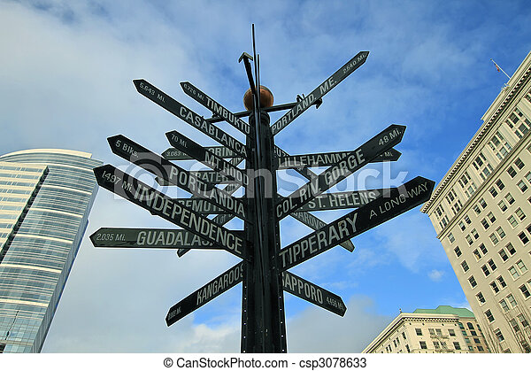Signs Pointing in all Directions - csp3078633