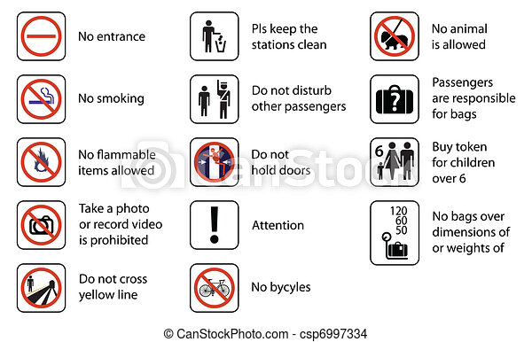 signs used in stations of rail transport systems - csp6997334