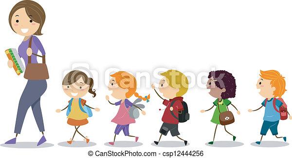Niños siguiendo a su maestro - csp12444256
