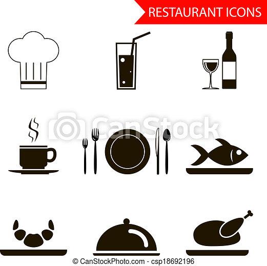 sihouette, restaurant, vecteur, ensemble, icônes - csp18692196