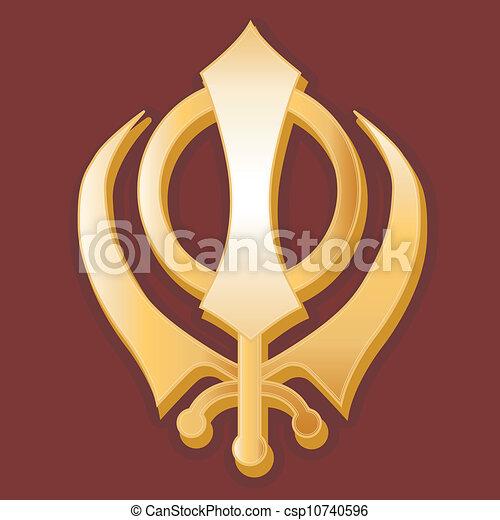 Sikh Symbol Golden Sikh Khanda Symbol Of The Sikh Faith On A