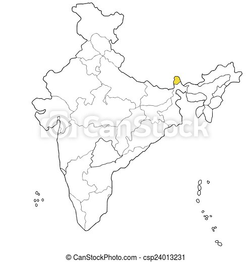 Carte Inde Sikkim.Carte Etat North Eastern Inde Sikkim