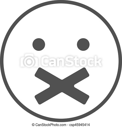 silence icon. face with crossed mouth . silence symbol. vector