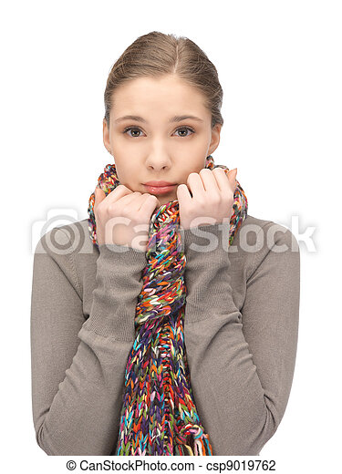 silenciador, mulher, triste - csp9019762