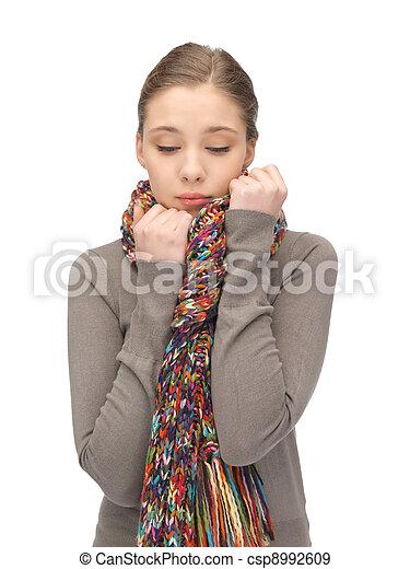 silenciador, mulher, triste - csp8992609