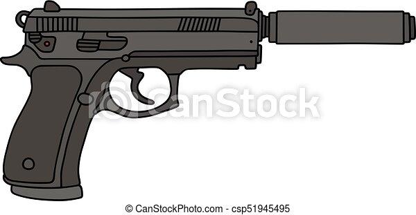 silenciador pistola automático mano silenciador negro pistola
