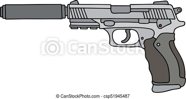 silenciador pistola automático plata silenciador mano pistola