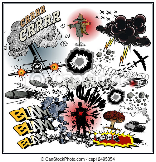 Silent movie animation war explosions on white background clipart silent movie animation vector voltagebd Image collections