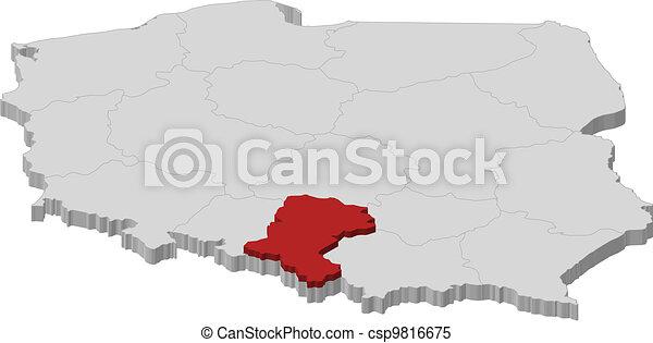 Polen Karte Umriss.Silesian Landkarte Hervorgehoben Polen