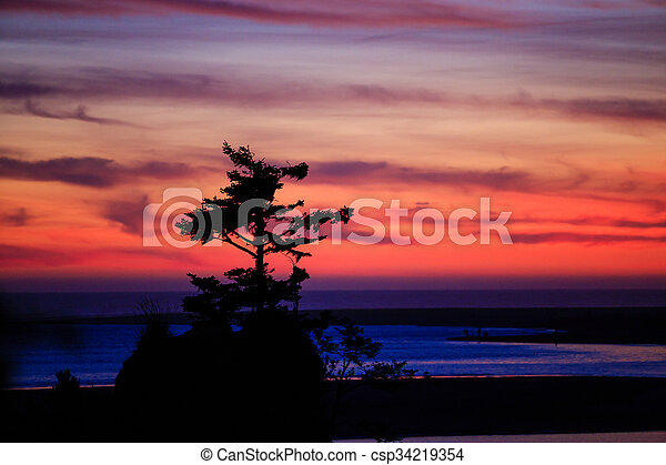 Siletz Bay Sunset in Oregon - csp34219354
