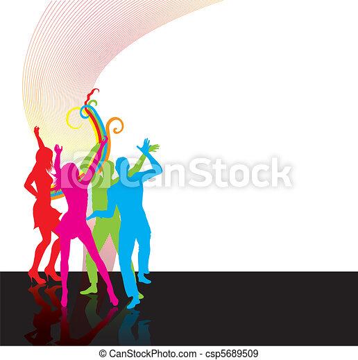 silhoettes, 人們, 跳舞, 愉快 - csp5689509