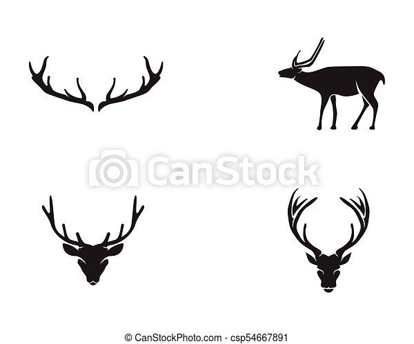 Silhouete Tête Animaux Icônes Cerf Noir Logo
