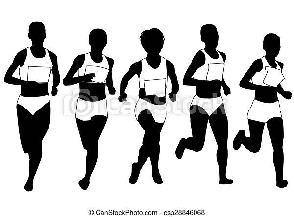 silhouett, grupa, biegacze, maraton - csp28846068