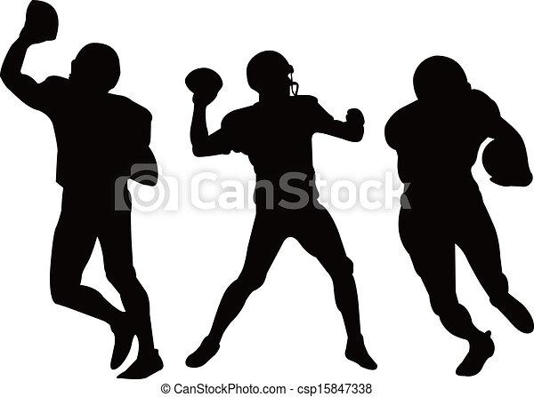 Jugadores americanos de fútbol silhouett - csp15847338