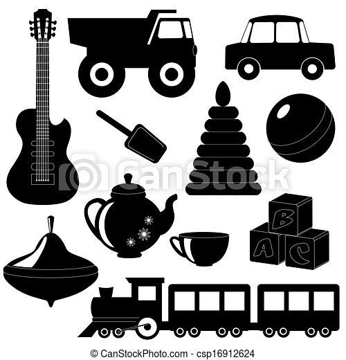 silhouette, 2, set, giocattoli - csp16912624