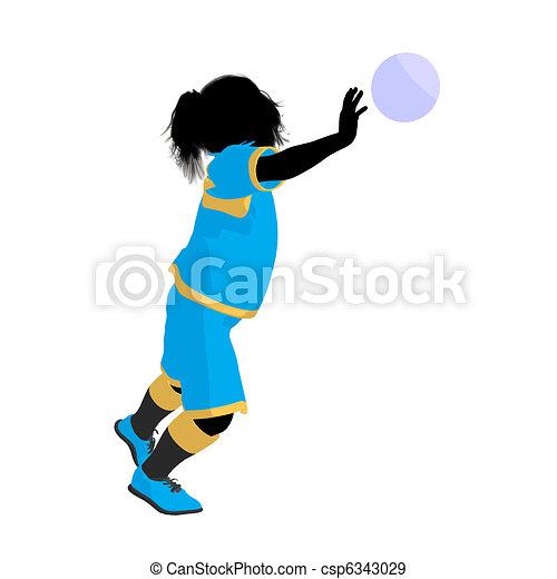 Silhouette Abbildung Tween Spieler Weibliche Fussball