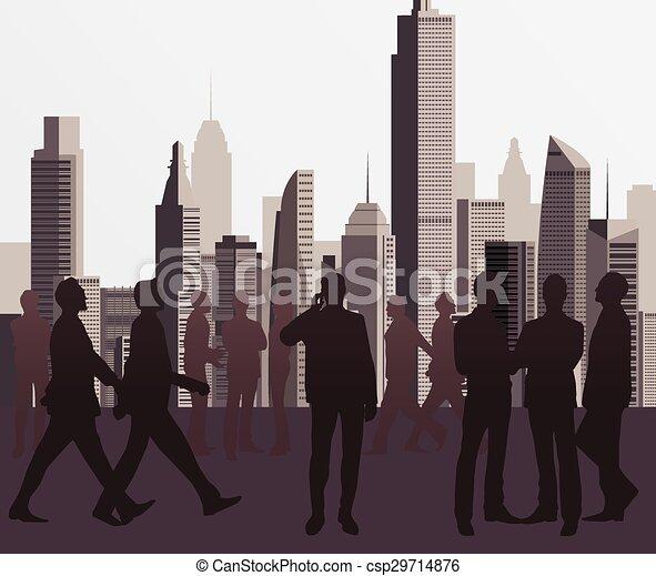 silhouette, affari persone - csp29714876
