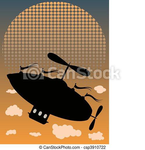 Silhouette Air Ship Flying Past Sun - csp3910722