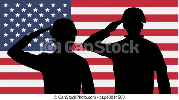 silhouette american soldiers salute on usa flag vector