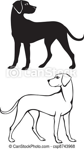 Silhouette and contour dog - csp8743968