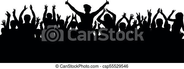 silhouette, applaudissements, foule - csp55529546