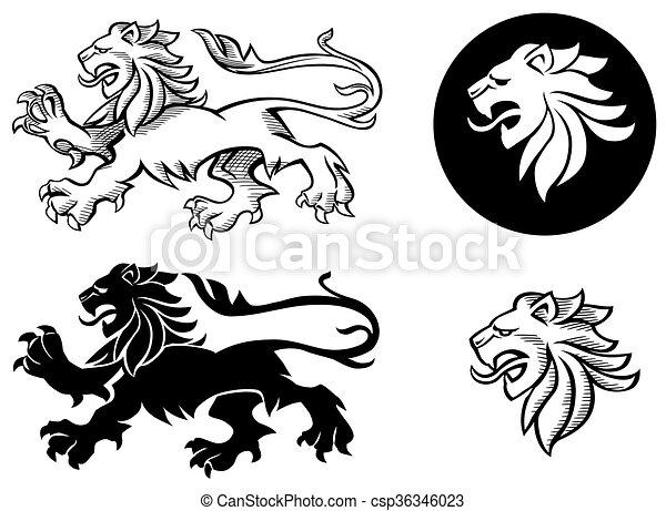 silhouette, araldico, leone - csp36346023