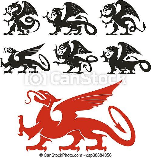 silhouette, araldico, novizio, mitico, drago - csp38884356
