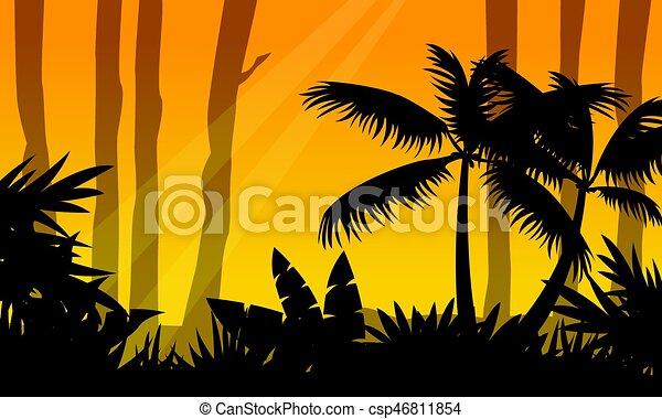 silhouette arbre jungle paysage silhouette arbre clipart vectoriel rechercher. Black Bedroom Furniture Sets. Home Design Ideas