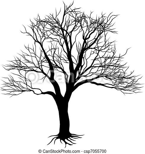 Silhouette arbre nu effrayant silhouette arbre - Dessin arbre nu ...