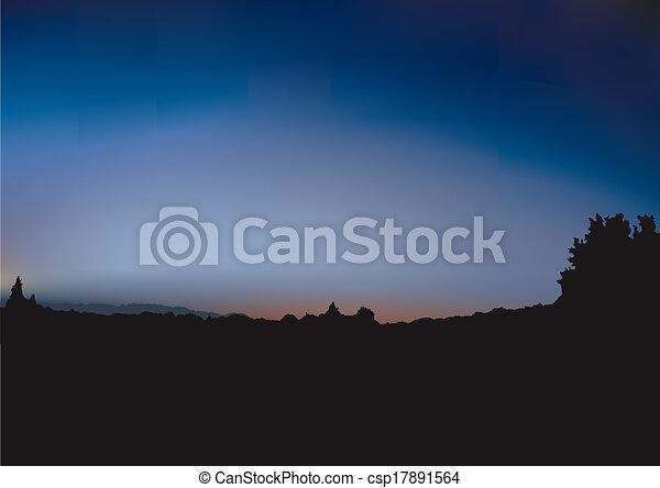 silhouette, arbusto, alba - csp17891564