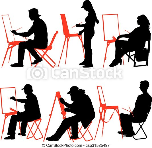silhouette artist at work on a white background vector eps rh canstockphoto com silhouette vector images human silhouette vectors